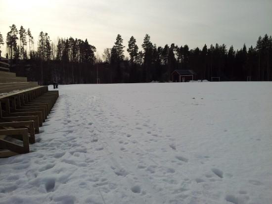 Idag går ett skidspår runt snöbeklädda Haraldsängen. Om ett par månader spelar Gottne IF division 3 fotboll här.